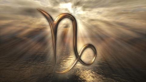 Animated mystic golden zodiac horoscope Capricorn symbol. 3D rendering 4K Animation