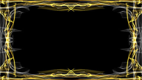 Elegant luxurious golden frame on black background. Animated frame for own Animation