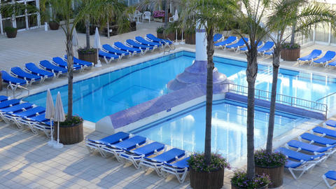 Empty Swimming Pool In Hotel Footage
