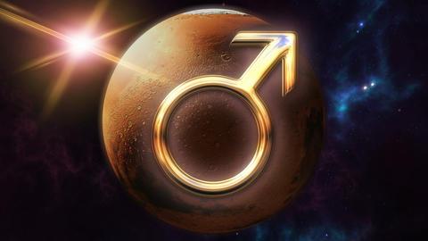 Animated mars zodiac horoscope symbol and planet. 3D rendering 4K Animation