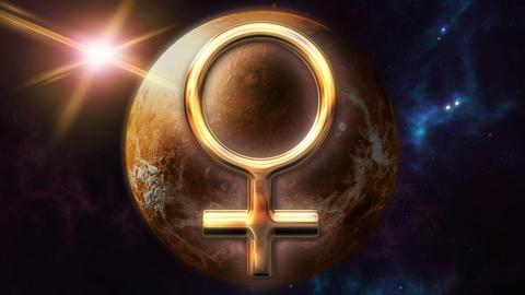 Animated venus zodiac horoscope symbol and planet. 3D rendering 4K Animation