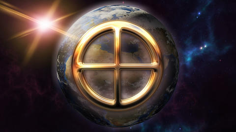 Animated earth zodiac horoscope symbol and planet. 3D rendering 4K Animation