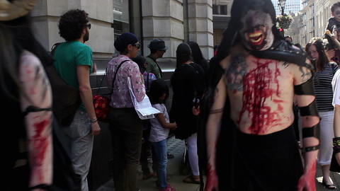 With the camera among zombies - zombies and monsters passing camera Live Action