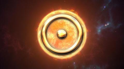 Animated sun zodiac horoscope symbol and planet. 3D rendering 4K Animation