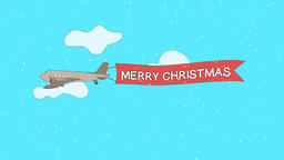 "Airplane is passing through the clouds with ""Merry Christmas"" banner - Seamless Animation"