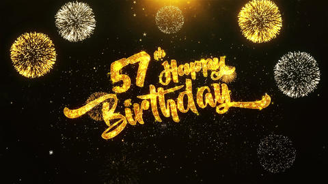 57th Happy Birthday Text Greeting, Wishes, Celebration, invitation Background Footage