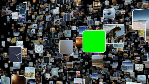 Animated video wall with many small icons popping up with green screen. 3D Animation