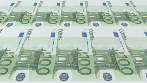 Printing of banknotes 100 euros. Looped 3d animation Footage