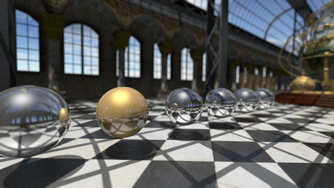 Animated surreal oprganic spheres in steampunk victorian interior. 3D rendering Animation