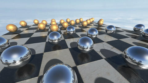 Animated surreal transparent spheres on a checkerboard. 3D rendering. 4K Animation