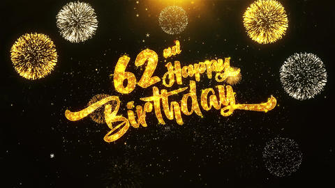 62nd Happy Birthday Text Greeting, Wishes, Celebration, invitation Background Footage
