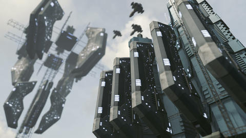 Animated futuristic scifi city with impressive space... Stock Video Footage