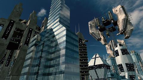 Animated futuristic scifi space scene with impressive space station. 4K Animation