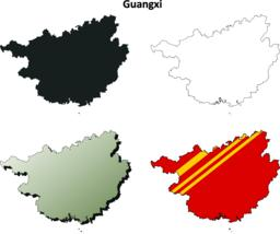 Guangxi blank outline map set Vector