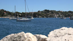 France Cote d'Azur Villefranche sur Mer sailing boats at anchor in the bay GIF