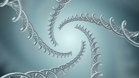 Animation of genetic DNA in a spiral Animation