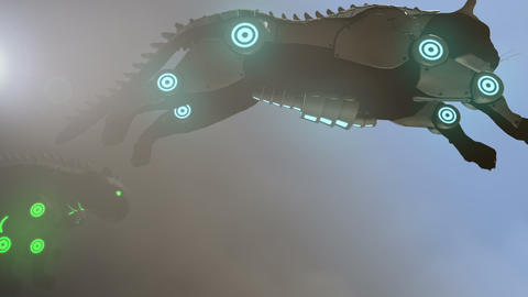 Artificial panther jumping in steam punk style - 24 fps Animation