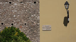 France Cote d'Azur Villefranche sur Mer simple house wall with lantern GIF
