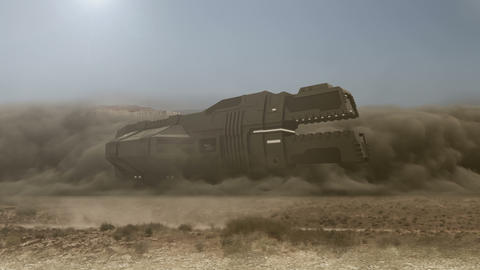 Futuristic cargo spaceship landing with dust and smoke - 24 fps Animation