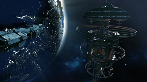 Space ship approaching futuristic space station 4K Animation