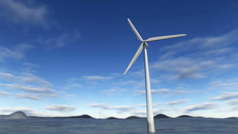 Animated wind turbine in an ocean with blue sky Animación