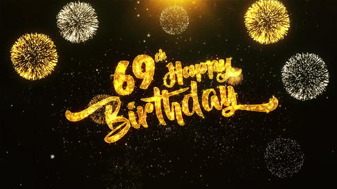 69th Happy Birthday Text Greeting, Wishes, Celebration, invitation Background Footage