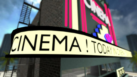 Loop-able animated text on a movie theater Animation