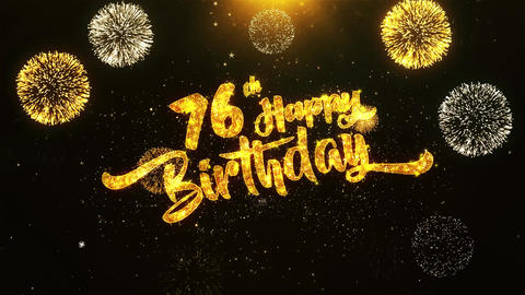 76th Happy Birthday Text Greeting, Wishes, Celebration, invitation Background Footage