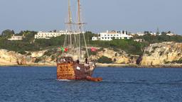 Tourist sailing ship make 180° turn Footage
