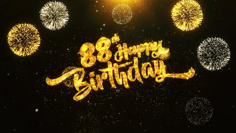 88th Happy Birthday Text Greeting, Wishes, Celebration, invitation Background Footage