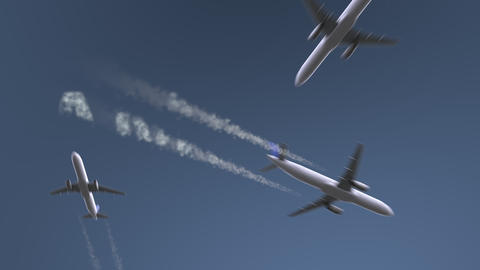 Flying airplanes reveal Amman caption. Traveling to Jordan conceptual intro Footage
