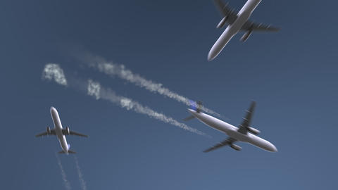 Flying airplanes reveal Athens caption. Traveling to Greece conceptual intro Footage
