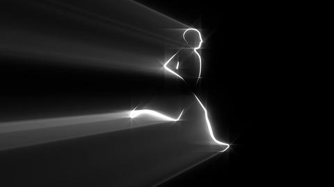 Runner, jogger - abstract. Loop. Alpha mask Animation