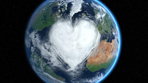 Hearts and clouds. Zoom. Earth From Space Animation