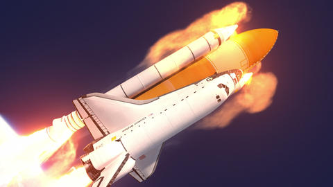 Space Shuttle Takes Off Animation