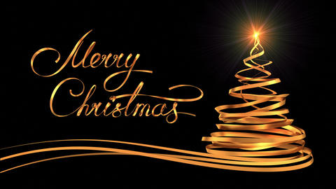 "Writing Golden Ribbon Text ""Merry Christmas"" And Christmas Tree Over Black Backg Animation"