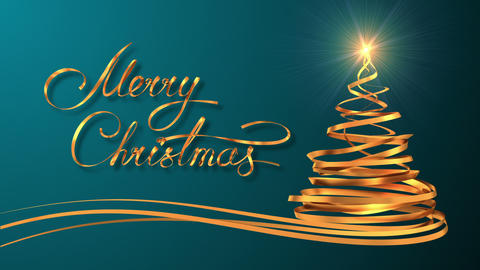"Writing Golden Ribbon Text ""Merry Christmas"" And Christmas Tree Over Cyan Backgr Animation"
