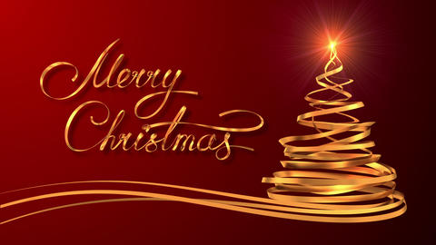 """Writing Golden Ribbon Text """"Merry Christmas"""" And Christmas Tree Over Red Backgro Footage"""