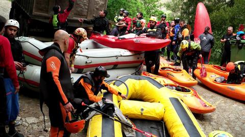 Raft preparations Footage