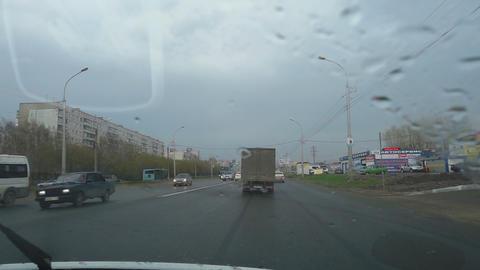 Raindrops on car windshield Footage