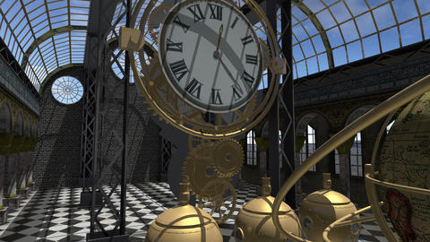 Time machine animated in Steam Punk style 4K Animation