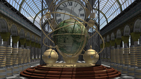 Zoom in to a time machine animated in Steam Punk style 4K Animation