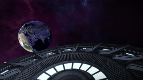 Animated ufo flying to city lighted earth 4K Animation