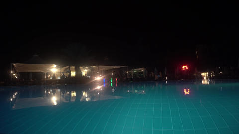 The swimming pool at night without people Footage