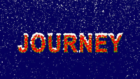 New Year text text JOURNEY. Snow falls. Christmas mood, looped video. Alpha Animation