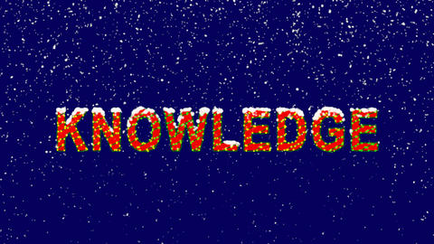 New Year text text KNOWLEDGE. Snow falls. Christmas mood, looped video. Alpha Animation