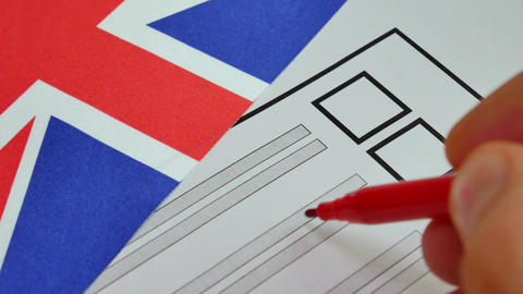 Voting paper ballot in Great Britain Footage