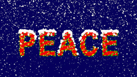 New Year text text PEACE. Snow falls. Christmas mood, looped video. Alpha Animation