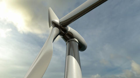 Animated wind turbine. Loop-able Animación