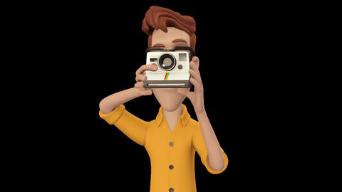 Cartoon Man taking Photograph Animation